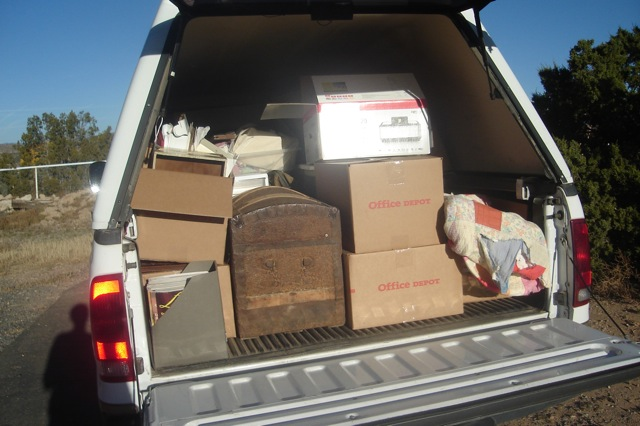 truck packed with things to sell and donate