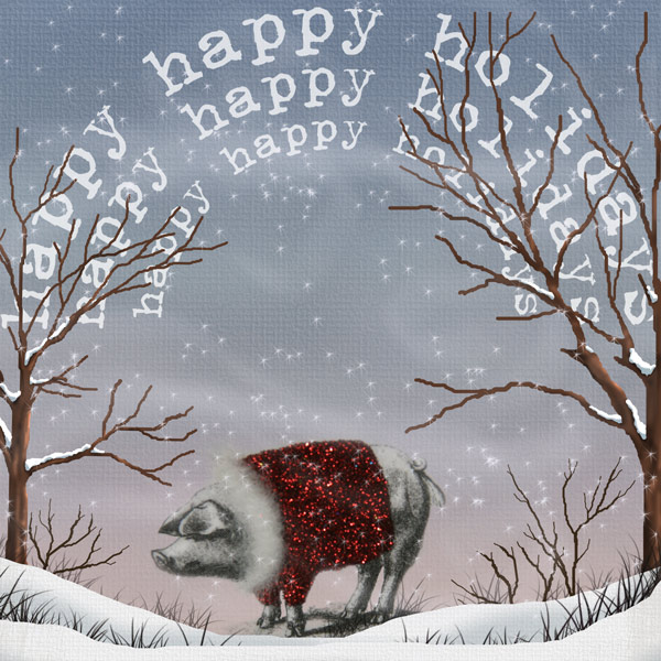 happy holidays, picture of pig with glitter coat