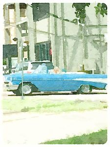 car old blue convertible watercolor effect
